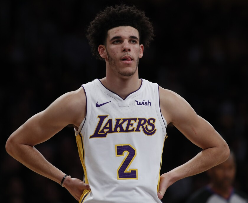 Lakers guard Lonzo Ball missed 30 games last season because of injuries to his left knee and left shoulder.