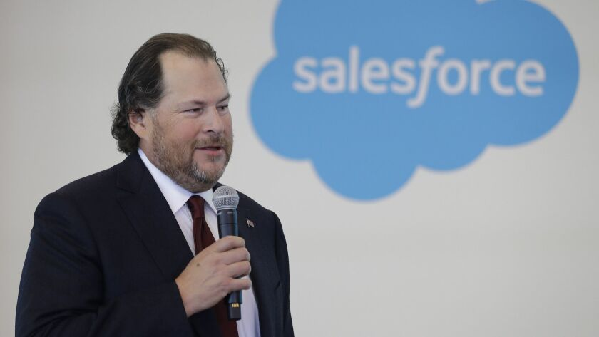 FILE - In this May 16, 2019 file photo, Salesforce chairman Marc Benioff speaks during a news confer