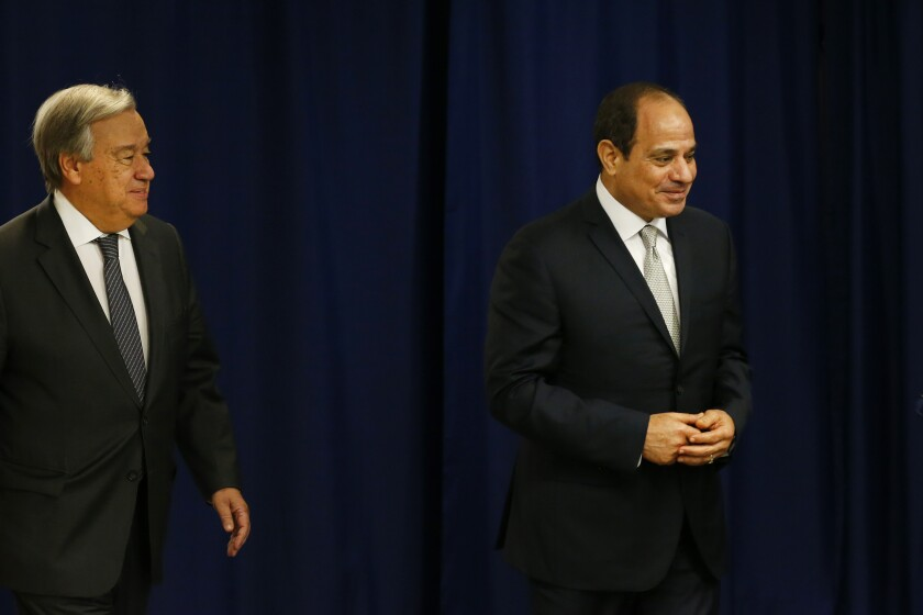 Egypt's President Abdel Fattah el-Sisi, right, meets with Secretary-General Antonio Guterres during the 74th session of the U.N. General Assembly, at U.N. headquarters, Wednesday, Sept. 25, 2019. (AP Photo/Jason DeCrow)