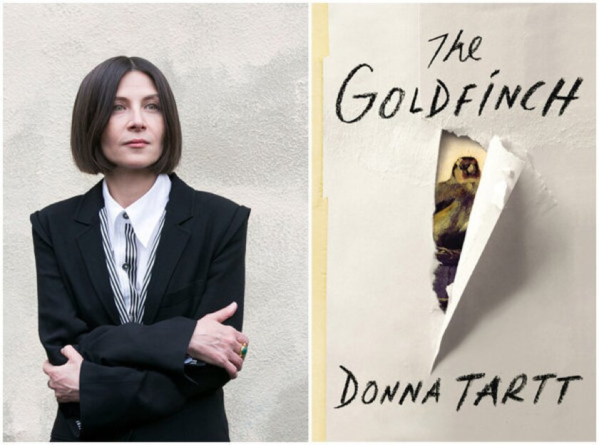 """Author Donna Tartt and the cover of her book, """"The Goldfinch."""""""