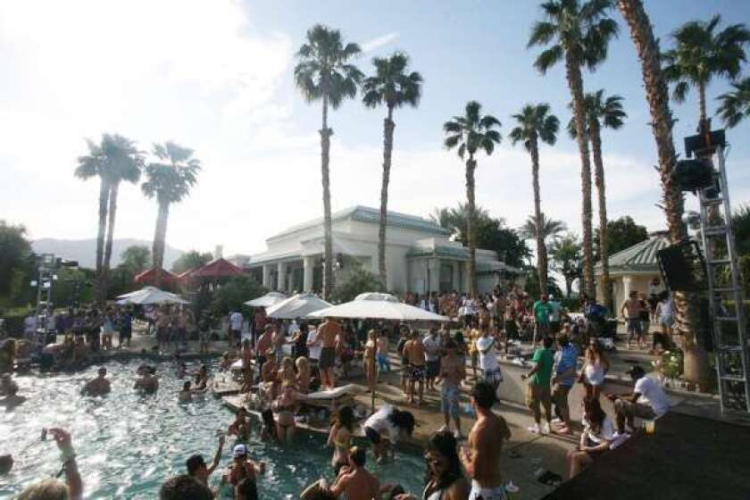 The scene at one of the many parties that swirled out of Coachella's orbit in 2011.