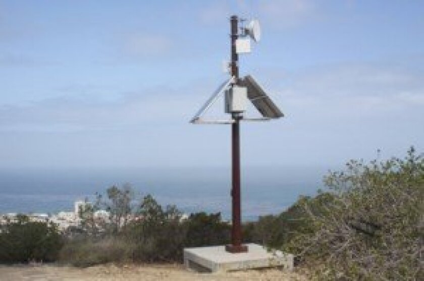This 'security communications pole' was recently installed near an entrance to La Jolla Natural Park, but community notification by the EPA was not required. Ashley Mackin