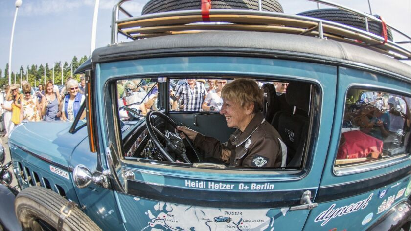 FILE-In this July 27, 2014 file photo Heidi Hetzer starts to her world tour in a Hudson Great Eight
