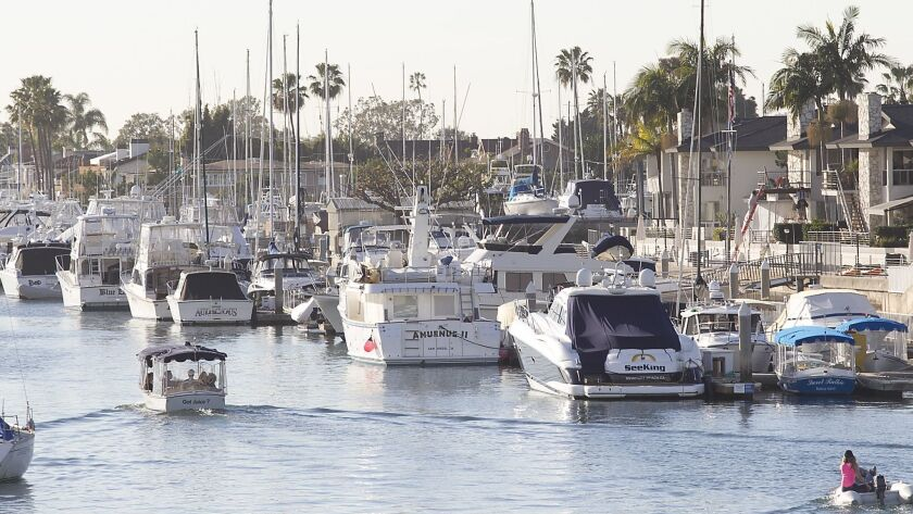 Docks inside Newport Harbor with Balboa Island on the left, and Bayside Dr, on the right.