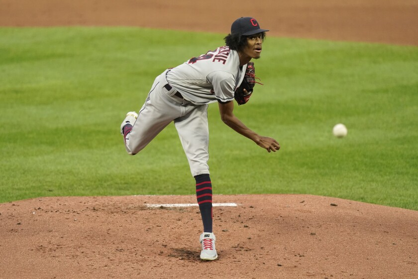 Cleveland Indians starting pitcher Triston McKenzie throws during the first inning of a baseball game against the Kansas City Royals Thursday, Sept. 2, 2021, in Kansas City, Mo. (AP Photo/Charlie Riedel)