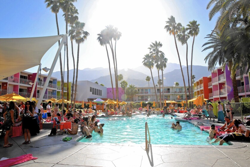 The Coachella Valley Music and Arts Festival triggers a mad rush for lodging, with fans booking accommodations well before the musical lineup is announced in January. Above, the Saguaro in Palm Springs.