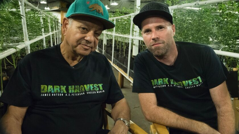 "Cheech Marin and ""Dark Harvest"" writer/director/actor James Hutson. He has a new line of cannabis"