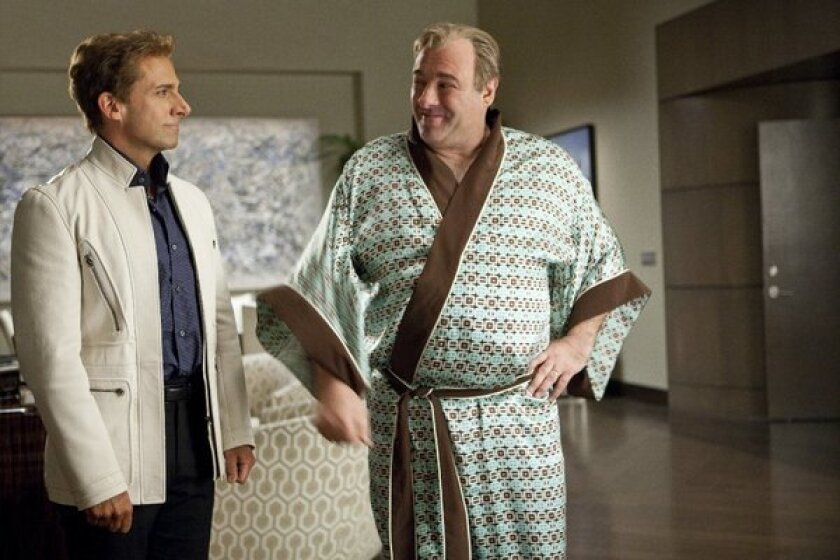 """Steve Carell with a kimono-clad James Gandolfini in 2013's """"The Incredible Burt Wonderstone."""" The late actor knew how to use his body to help disappear into his roles."""