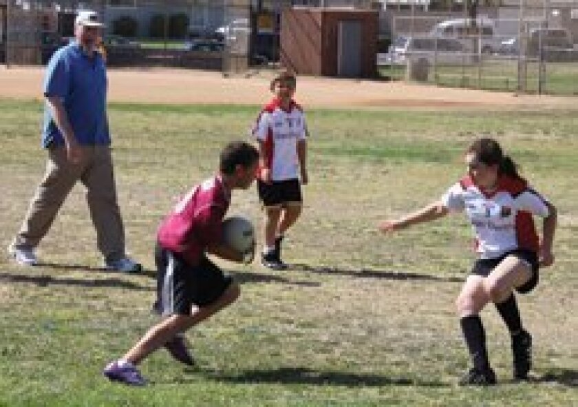 Carmel Valley players in a Gaelic football tournament