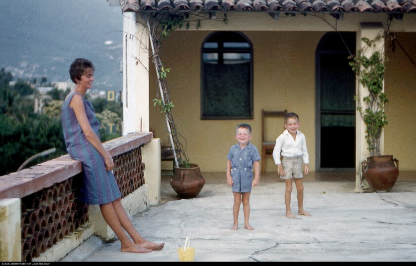 """(L-R) -A photograph of Lucia Berlin, Jeff and Mark in Acapulco, circa 1961, featured in """"Welcome Hom"""