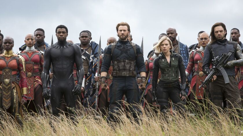 Marvel Studios' AVENGERS: INFINITY WAR L to R: Okoye (Danai Gurira), Black Panther/T'Challa (Chadwi