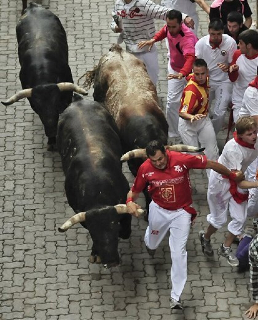 A reveler holds the horn of a Miura bull as he runs beside the bull during the fourth running of the bulls at the San Fermin fiestas in Pamplona northern Spain, Sunday July 10, 2011. (AP Photo/Alvaro Barrientos)
