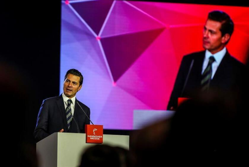 The President of Mexico Enrique Pena Nieto speaks during the opening ceremony of the Hanover Industrial Trade Fair in Hannover, northern Germany. EFE