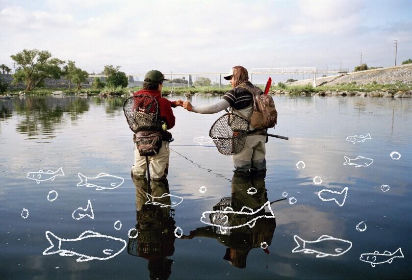 Lauren Mollica, left, and Lino Jubilado fishing early in the morning in Long Beach.