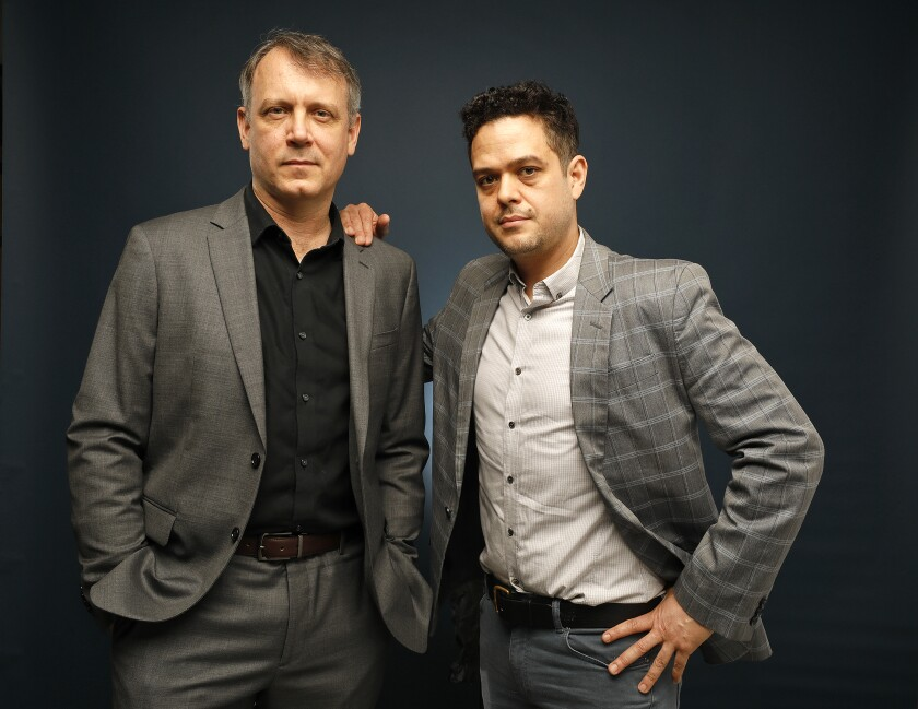 """""""The Trials of Gabriel Fernandez"""" producer and former Los Angeles Times reporter Garrett Therolf, right, with director Brian Knappenberger, photographed in the L.A. Times Studio."""