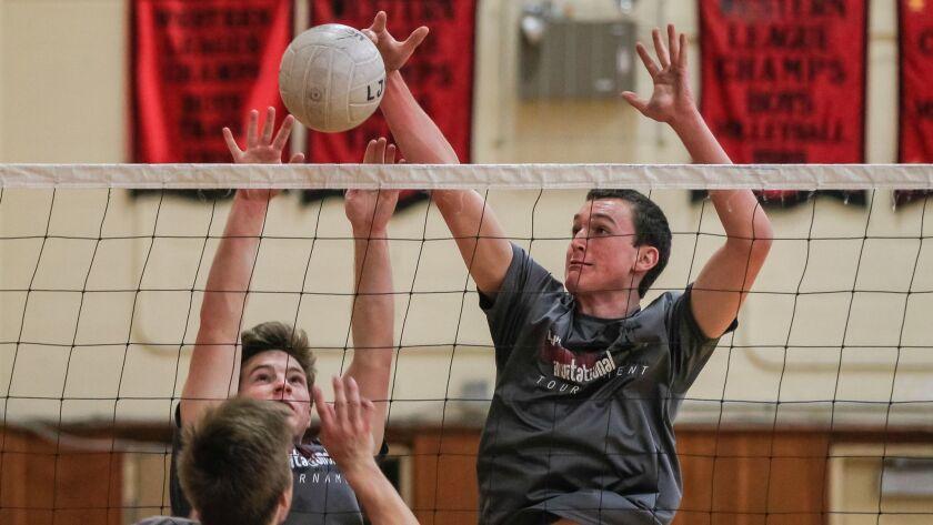 SAN DIEGO, CA February 21st 2018   La Jolla High School boys volleyball player Nathaniel Gates (righ