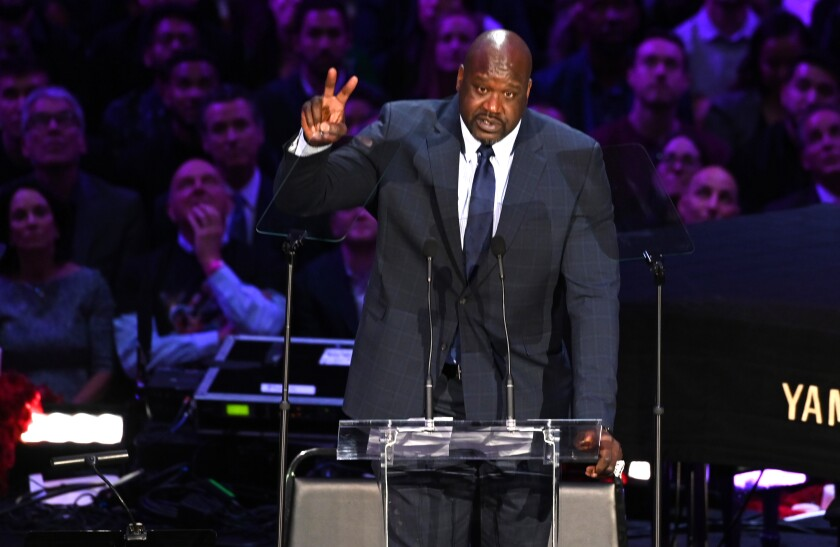 Shaquille O'Neal speaks at the Kobe & Gianna Bryant Celebration of Life on Monday at Staples Center.