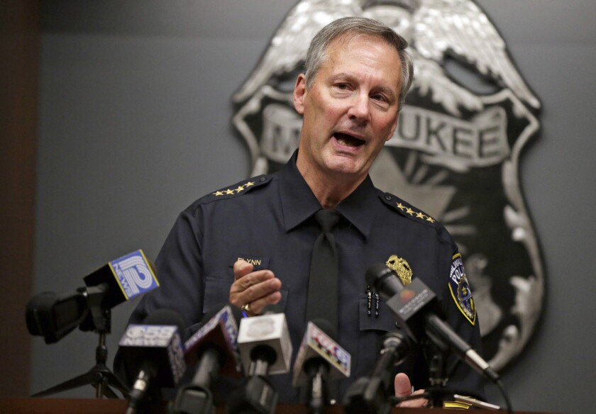 Milwaukee Police Chief Edward Flynn speaks at a news conference Oct. 15, 2014, about the fatal shooting of a mentally ill black man, Dontre Hamilton, by a white officer.