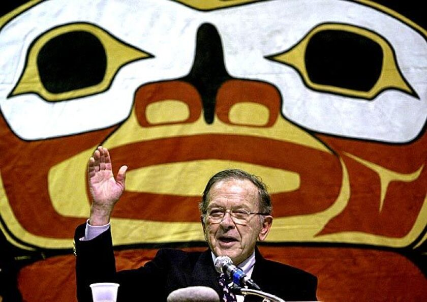 Sen. Ted Stevens thanks the Alaska Native people after giving his congressional report to the Alaska Federation of Natives convention in Anchorage in 2004.
