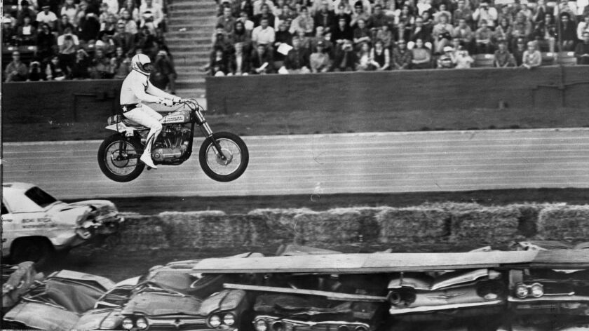 Evel Knievel easily defied death in front of a crowd of 23,736 at the Coliseum on Feb. 18, 1973.