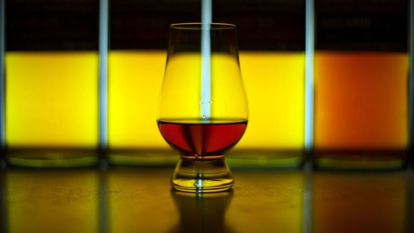 A glass of single malt whisky produced at the Auchentoshan Distillery on the outskirts of Glasgow, Scotland.
