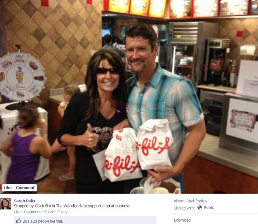 Palin stokes Chick-fil-A debate with visit