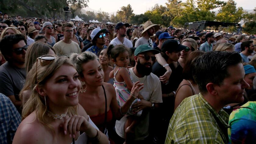 PASADENA, CALIF. - JUNE 24, 2017. Music fans wait for a performance by the roots rock band Alabama
