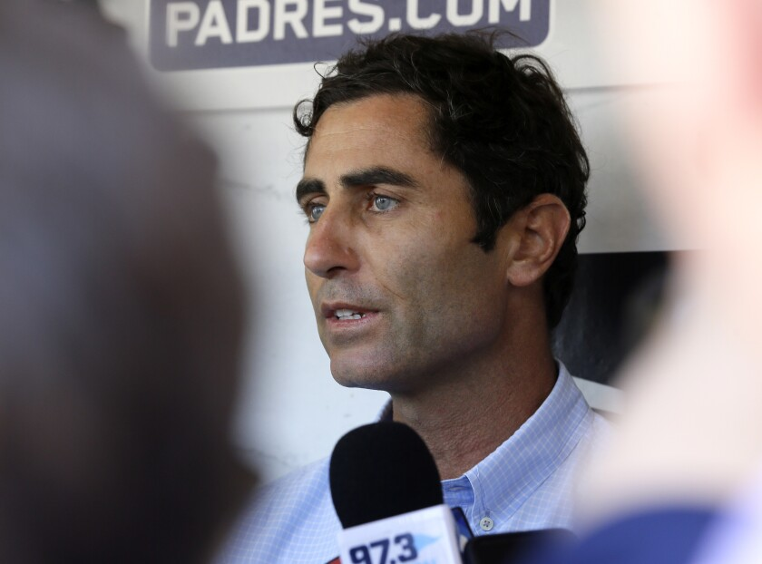Padres General Manager A.J. Preller speaks to the media shortly after manager Andy Green was fired Saturday.