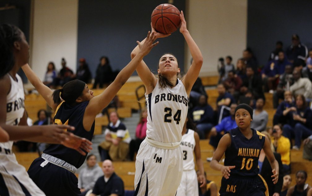 Alexis Rivas takes a shot in the first half. The Vista Murrieta Broncos defeated Long Beach Millikan in their Southern California regional quarterfinal girls basketball playoff game.