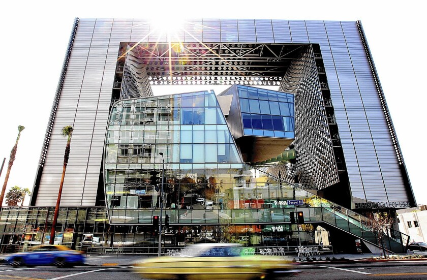 The new Emerson College campus in Hollywood features a giant silver frame-like facade that connects two residential towers to a sculptural base of lecture halls, theaters and production spaces.