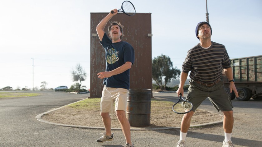 "Mark Duplass, left, and Ray Romano in the movie ""Paddleton."""
