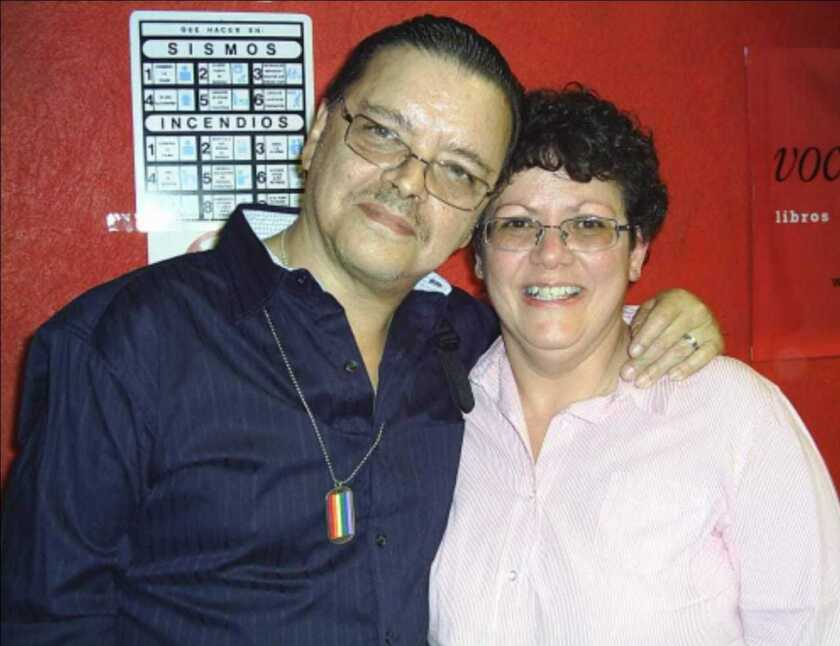 Author Luis Zapata and his friend Odette Alonso in 2011.