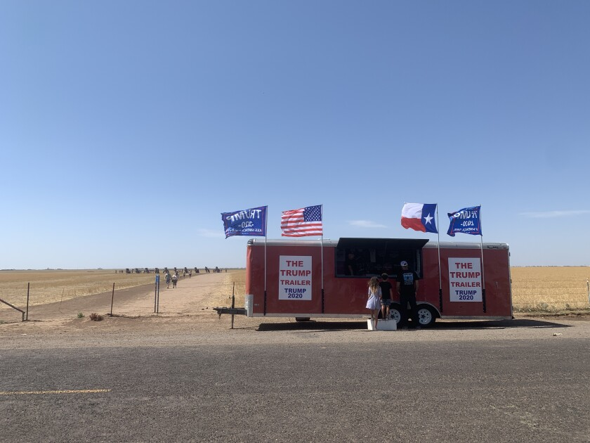 The Trump Trailer outside the famed Cadillac Ranch art installation in Amarillo, Texas.