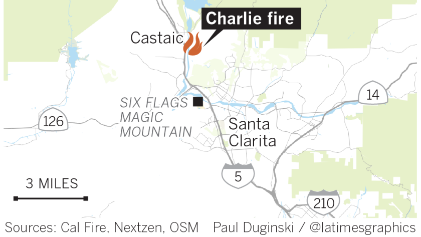 Brush fire burns 3,000 acres in Castaic area, prompting road