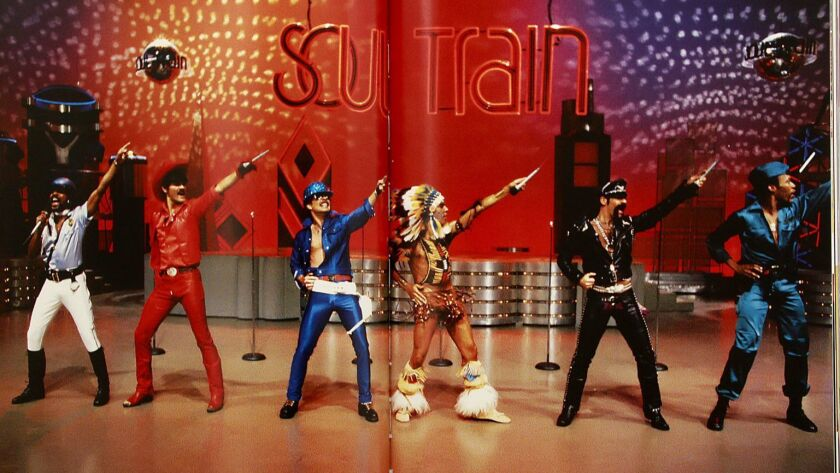 """The Village People perform on an episode of """"Soul Train."""""""