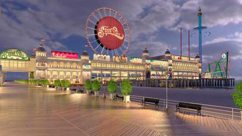 Steel Pier on the Atlantic City Boardwalk in New Jersey.