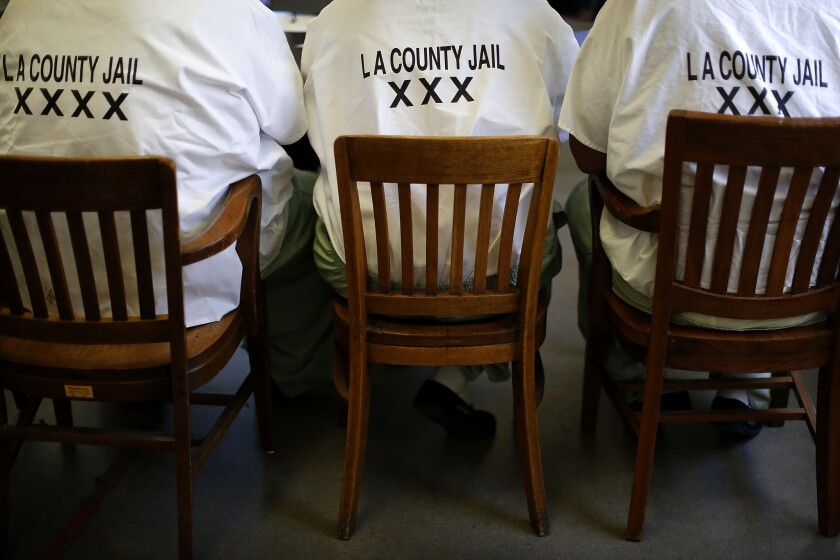 Inmates at the Pitchess Detention Center in June.