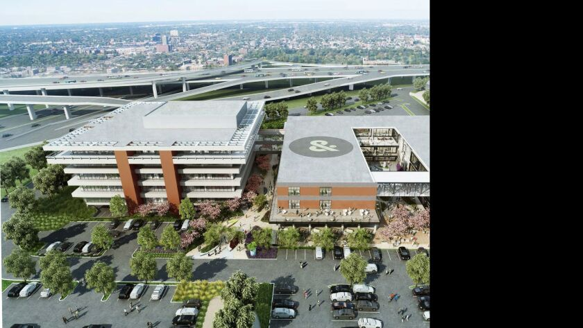 The Ampersand project leaves the five-story office building, left, relatively unchanged on the outside, while the print building will be opened up with a courtyard.