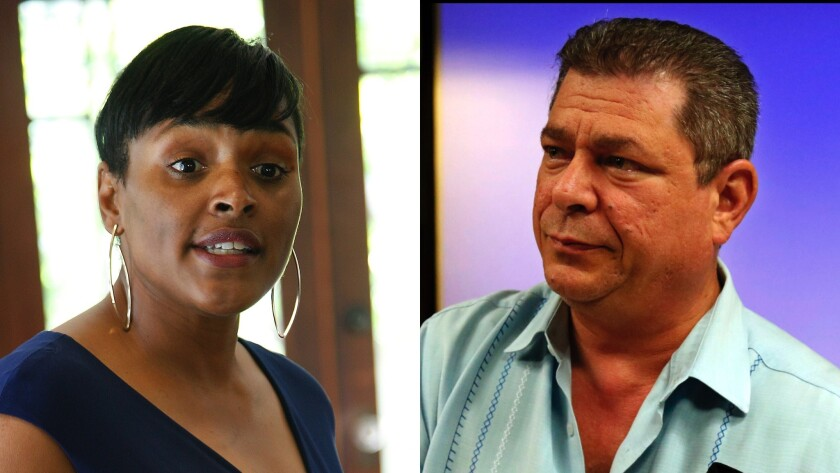 Kimberly Ellis, left, and Eric Bauman, are running to become chair of the California Democratic Party.