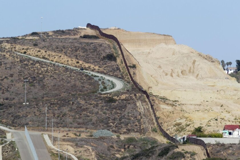 The U.S.-Mexico border. San Diego is on the left.