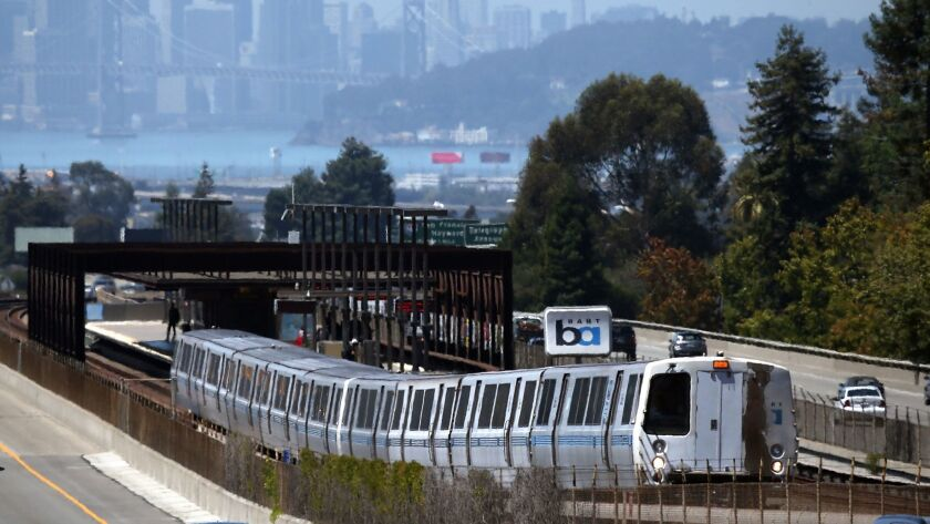A Bay Area Rapid Transit (BART) train pulls away from the Rockridge station on August 2, 2013 in Oakland, California.