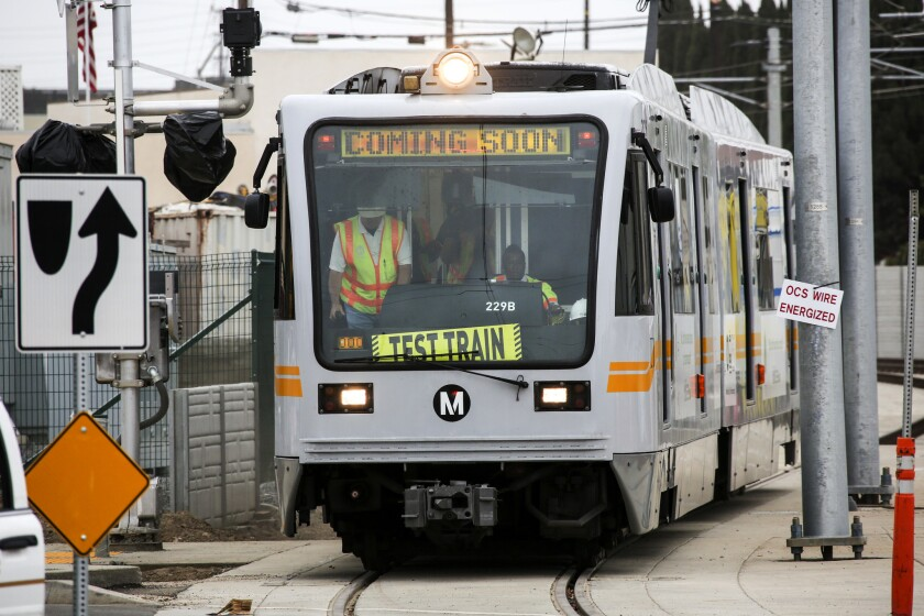 A Metro Expo Line train makes a test run in Santa Monica on July 31, 2015.