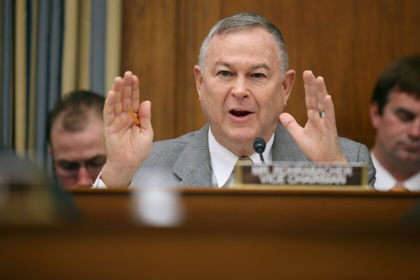 Rep. Dana Rohrabacher at a recent House hearing.