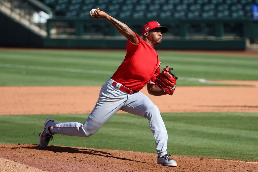 Angels pitcher Raisel Iglesias pitches during a spring training game.