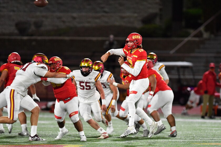 Cathedral Catholic football coach Sean Doyle guided his No. 2 ranked Dons to a win over No. 6 Torrey Pines on Friday night.