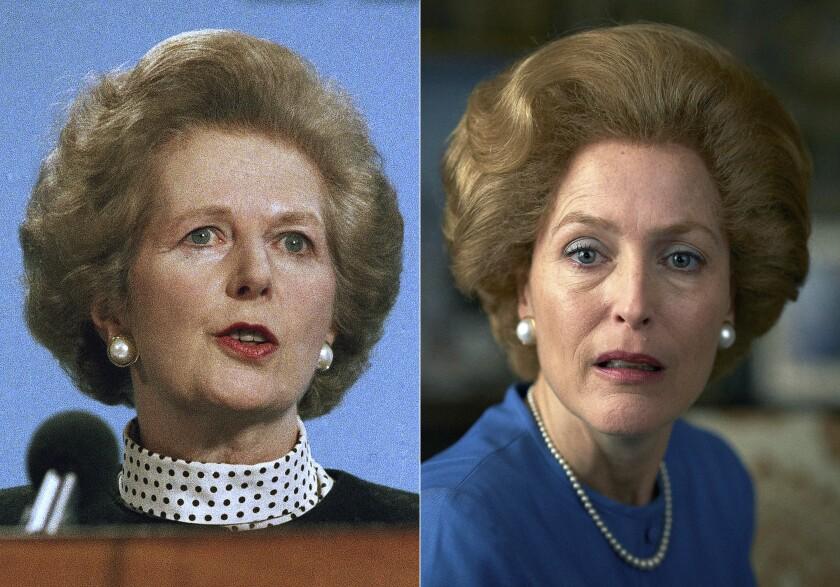 Gillian Anderson , derecha, y Margaret Thatcher en Scarborough