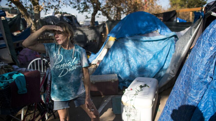 ORANGE, CA - JANUARY 17, 2018: Kathy Schuler,61, has been living in the homeless encampment along th