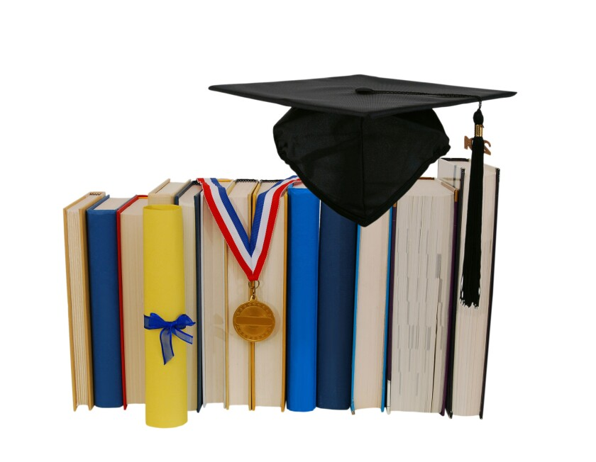 diploma, books, graduation cap