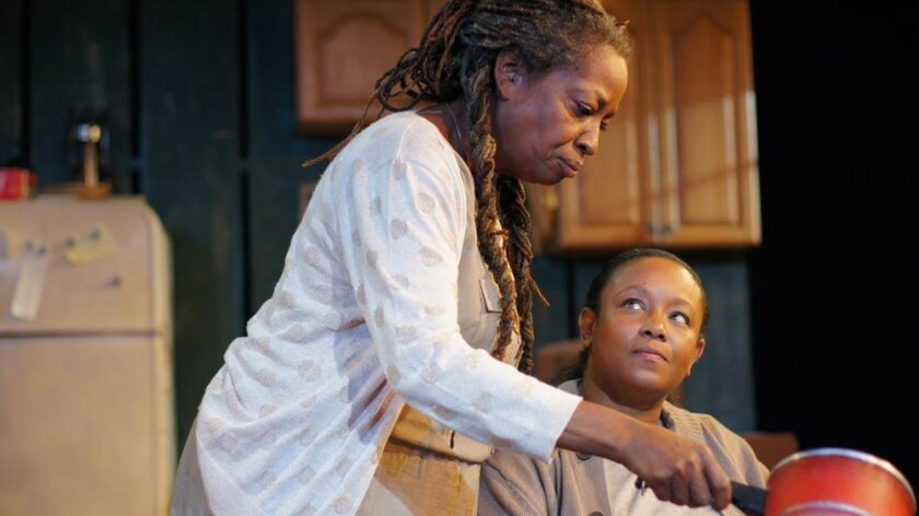 "Sylvia M'Lafi Thompson, left, and Yolanda Franklin co-star in Ion Theatre's ""'night Mother."""