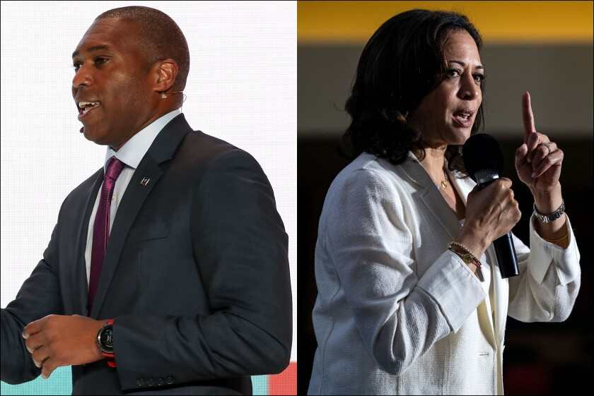 Tony West, left, is the chief legal officer for Uber and brother-in-law of Sen. Kamala Harris.
